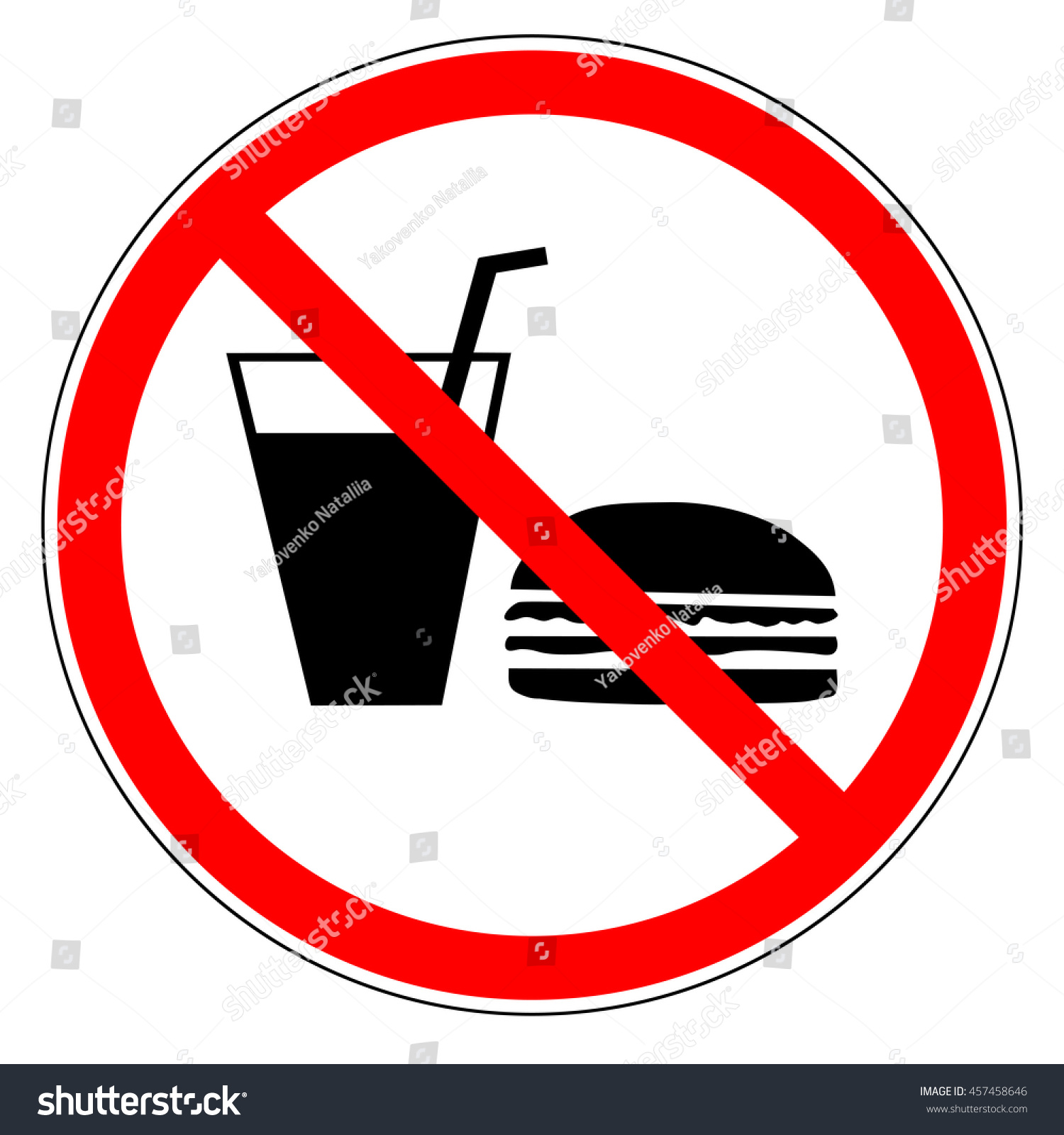 do not eat drinks sign red stock vector 457458646 shutterstock
