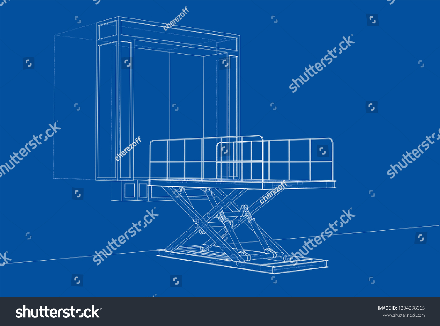 hight resolution of dock leveler concept vector rendering of 3d wire frame style the layers