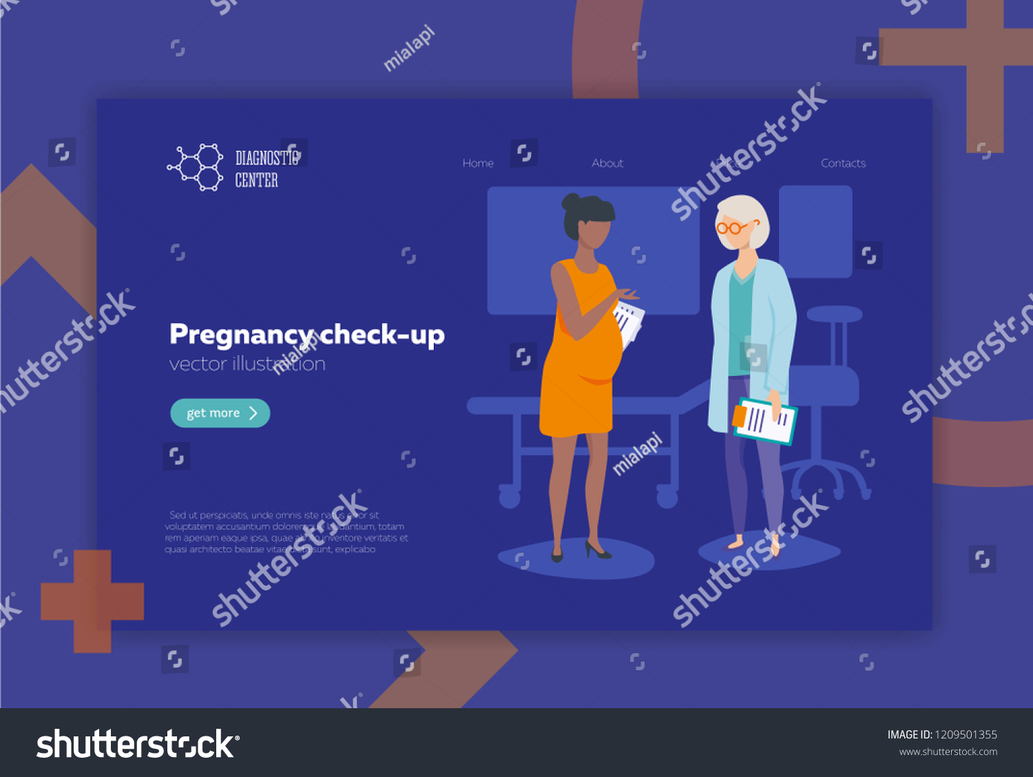 hight resolution of doctor and pregnant woman vector illustration flat style medical pregnancy check