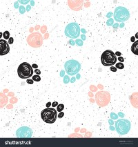 Doodle Dog Paw Seamless Background Black Stock Vector ...