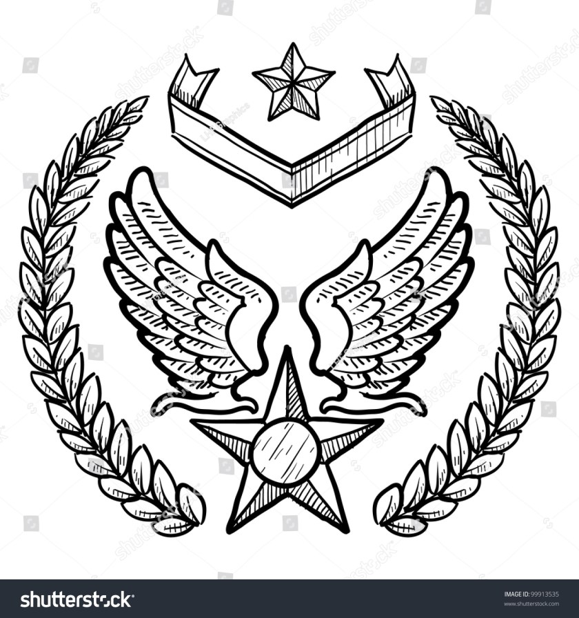 doodle style military insignia us air stock vector