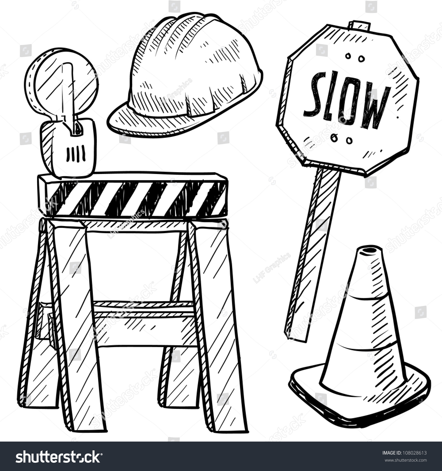 Doodle Style Road Construction Equipment Sketch Stock Vector