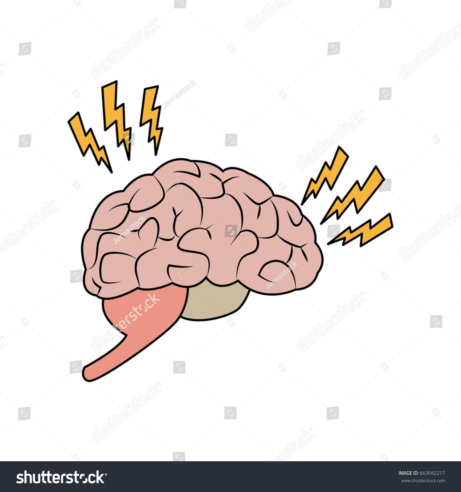 hight resolution of drawing brain human pain sick organ