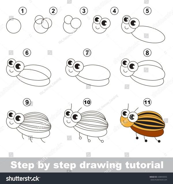 Drawing Tutorial Children Easy Educational Kid Stock