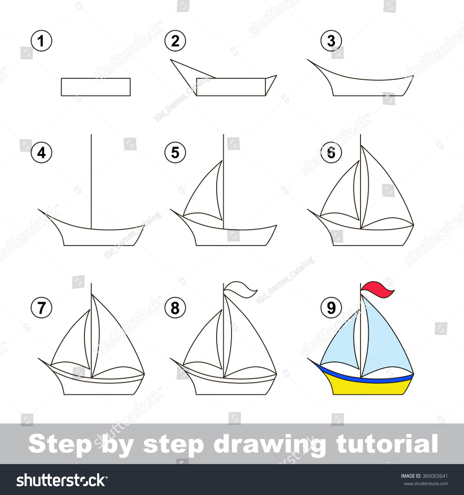 Drawing Tutorial How Draw Boat Stock Vector