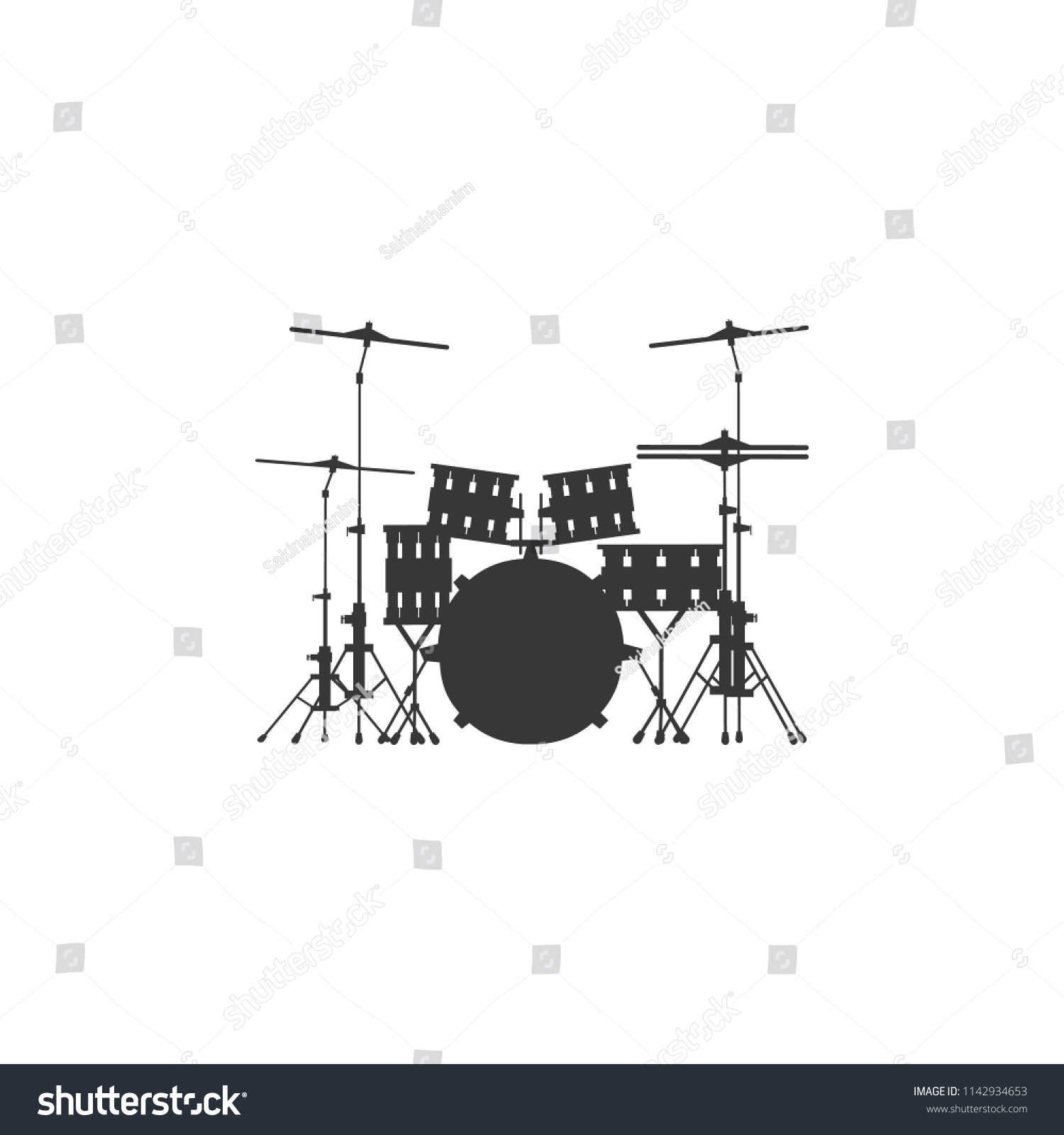 hight resolution of drum set icon on gray background round shadow