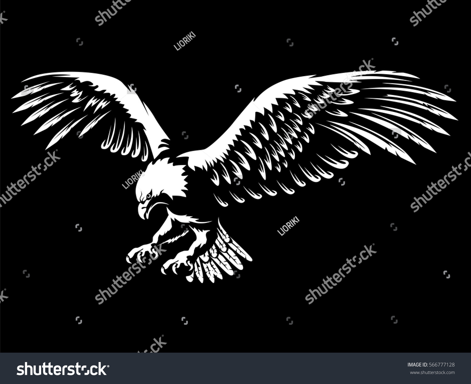 Stock Vector Eagle Emblem Isolated On Black Vector