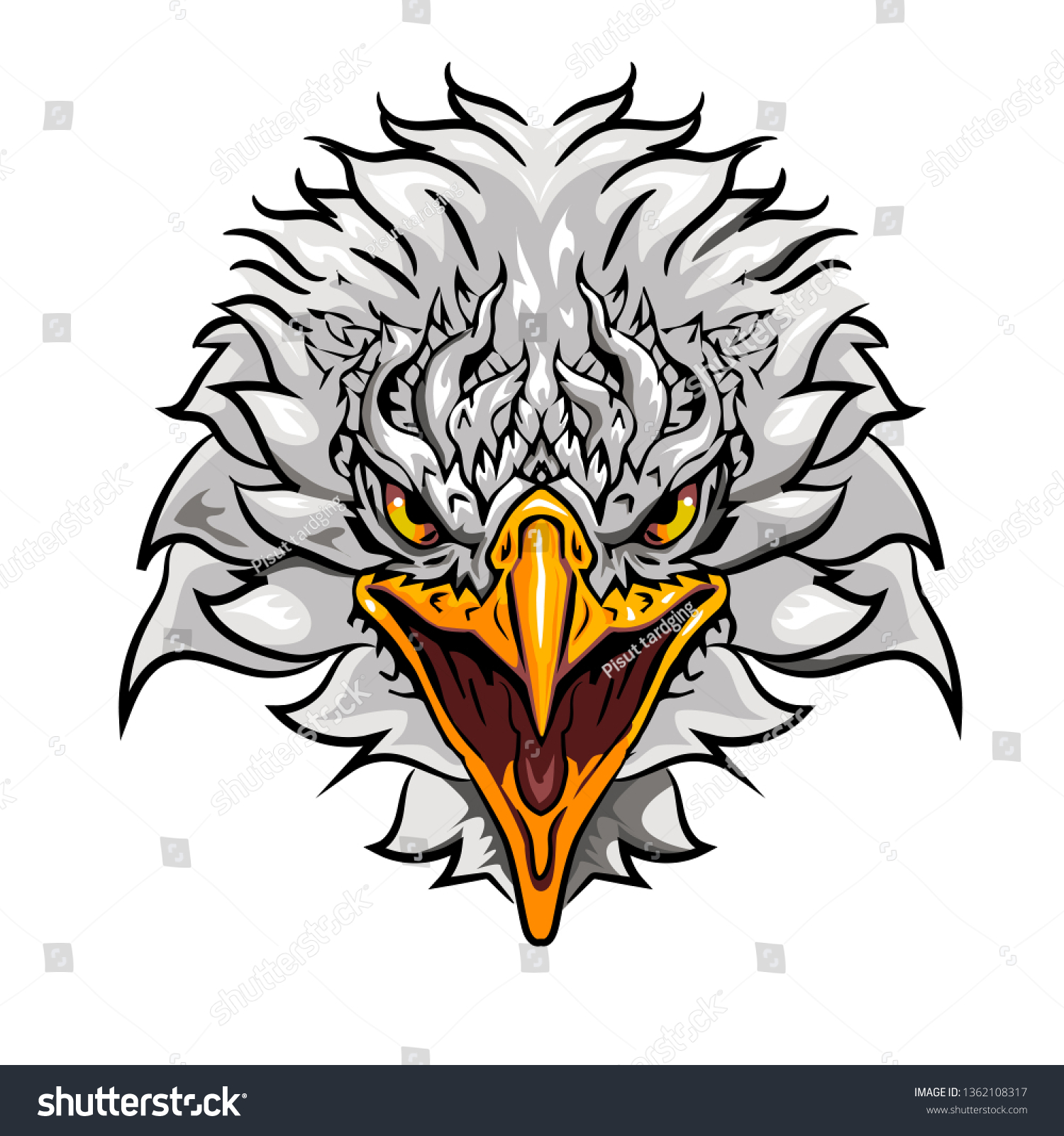 hight resolution of eagle face vector clipart