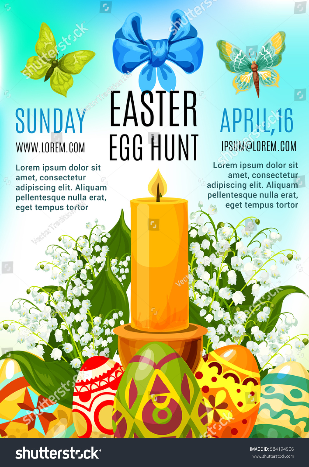 Easter Egg Hunt Celebration Poster Or Invitation Flyer Template Design.  Decorated Easter Eggs With Lily