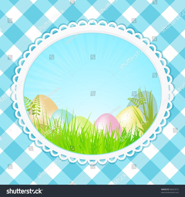 Easter Eggs In Decorative Border Blue Gingham