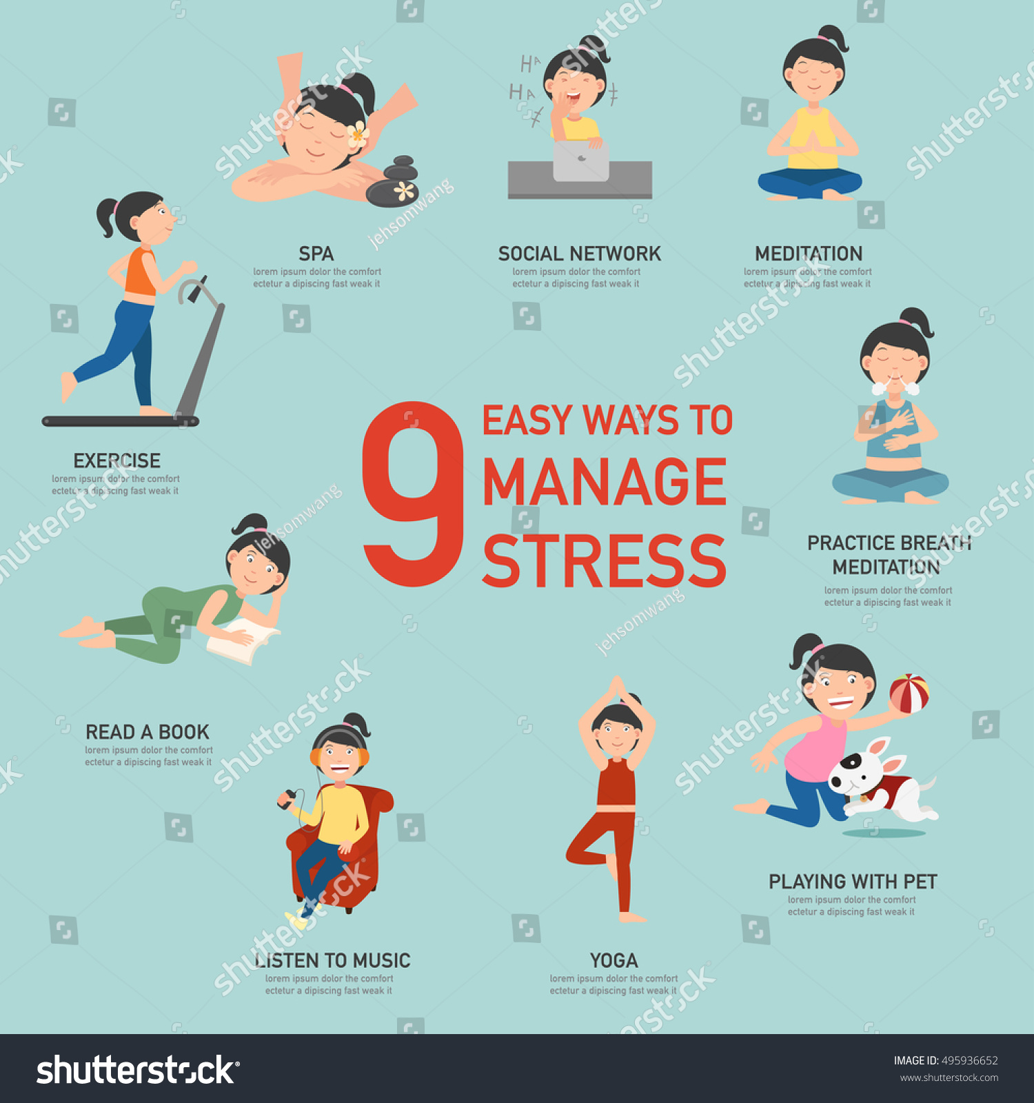 Easy Ways Manage Stressinfographicvector Illustration