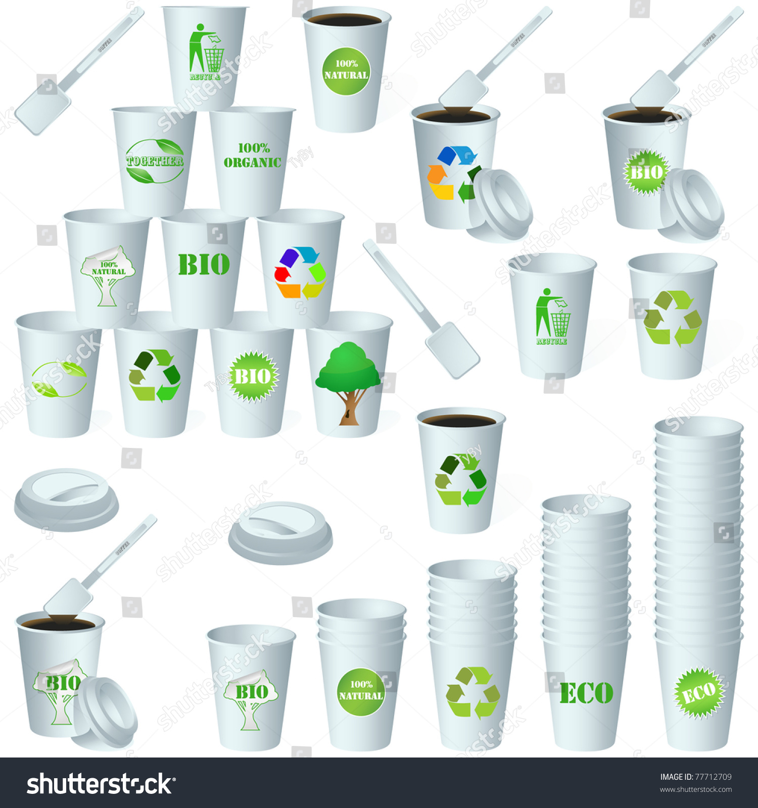 Eco Paper Energy Drink Cup Design Stock Vector