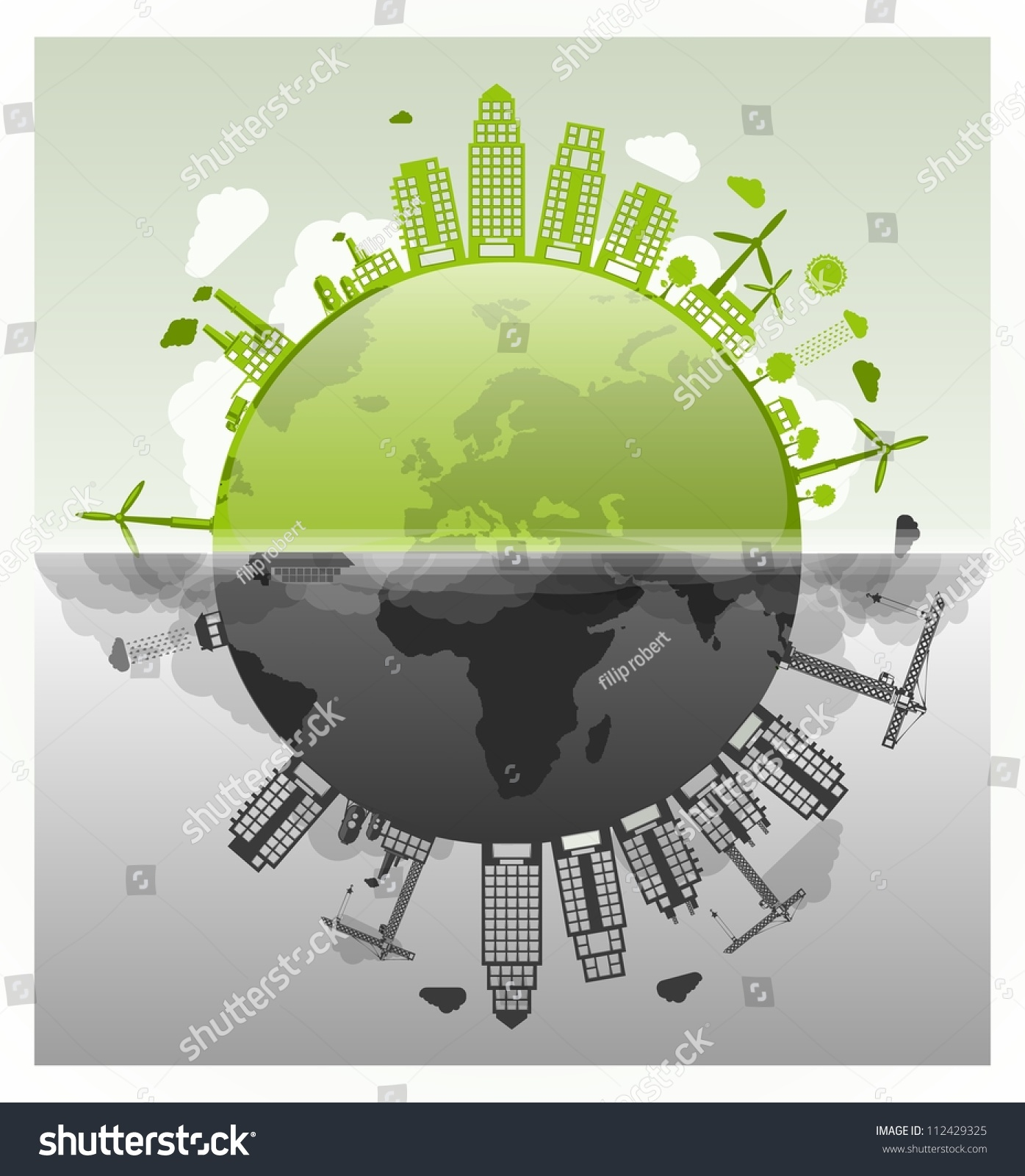 Ecology Vs Pollution Vector Planet  112429325  Shutterstock