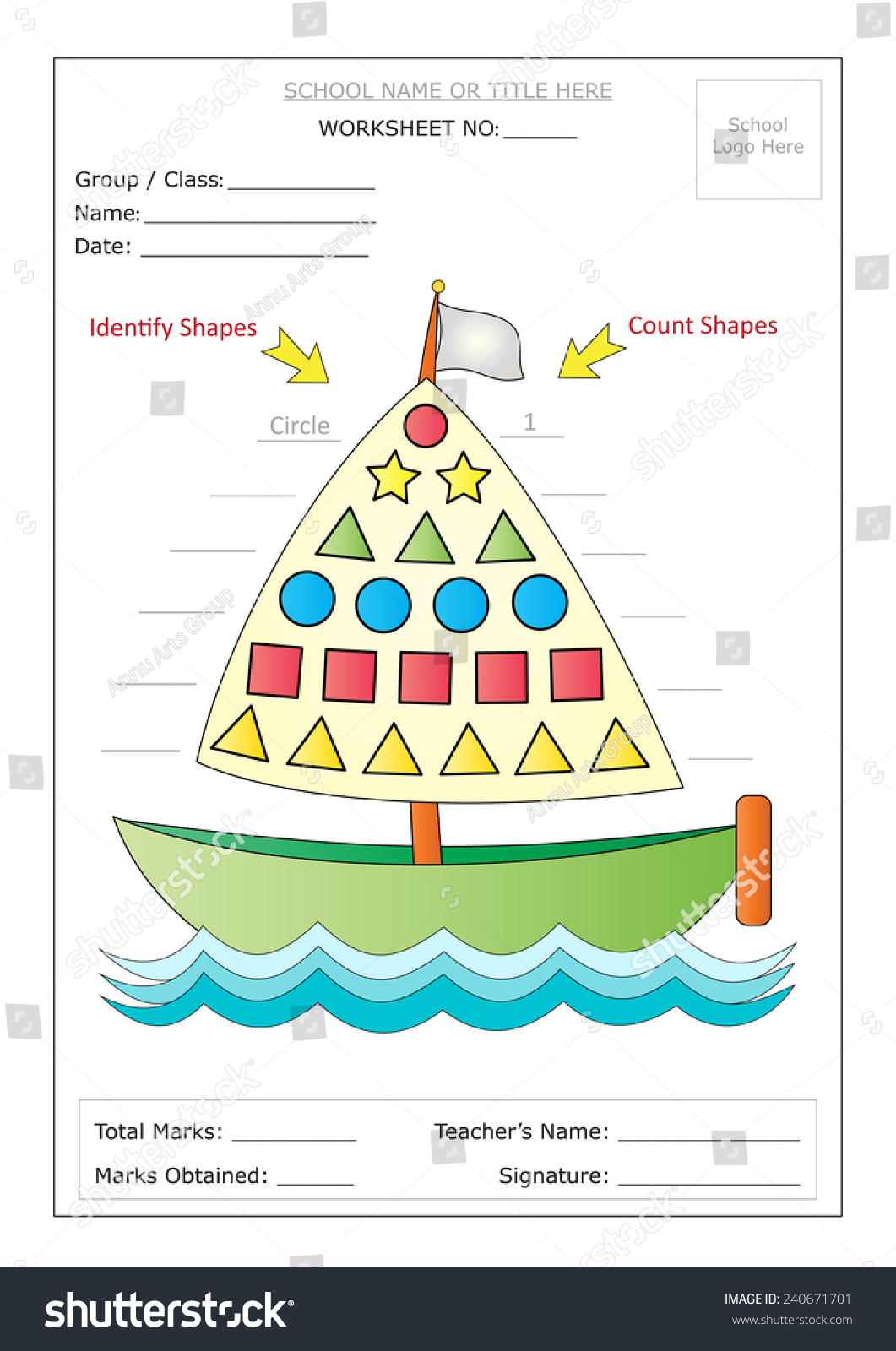 Editable Montessori Worksheet Boat Having Colorful Stock