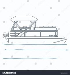 editable pontoon boat vector illustration in outline style [ 1500 x 1600 Pixel ]