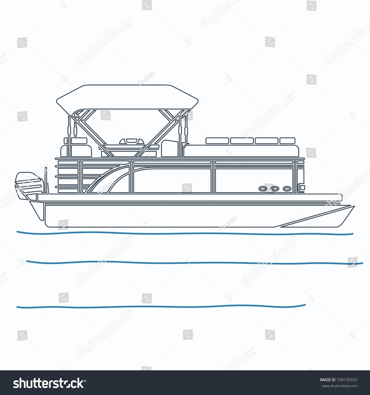 hight resolution of editable pontoon boat vector illustration in outline style