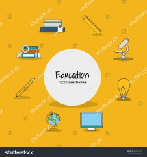 Education Academia Related Icons Emblem Stock Vector