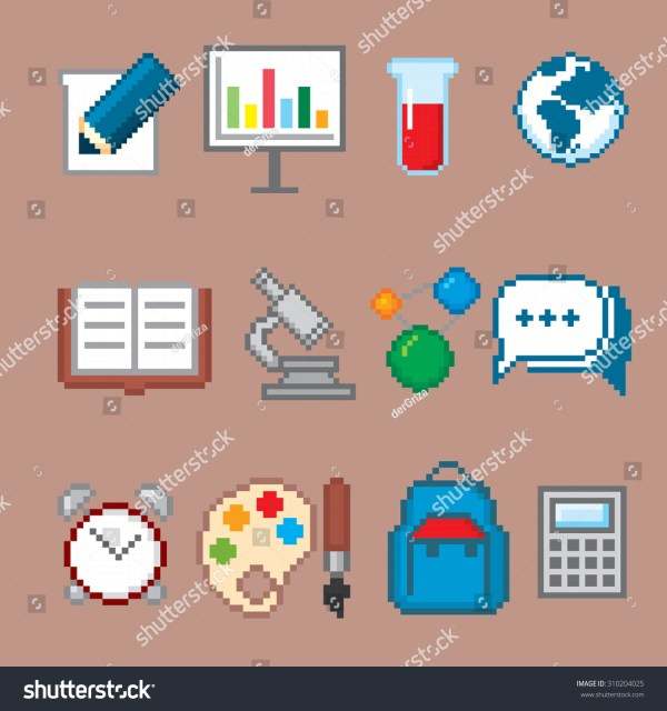 Education Science Icons Set Pixel Art Stock Vector