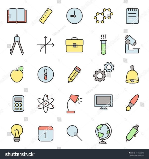 Education Science Outline Multicolored Icons Vector Stock