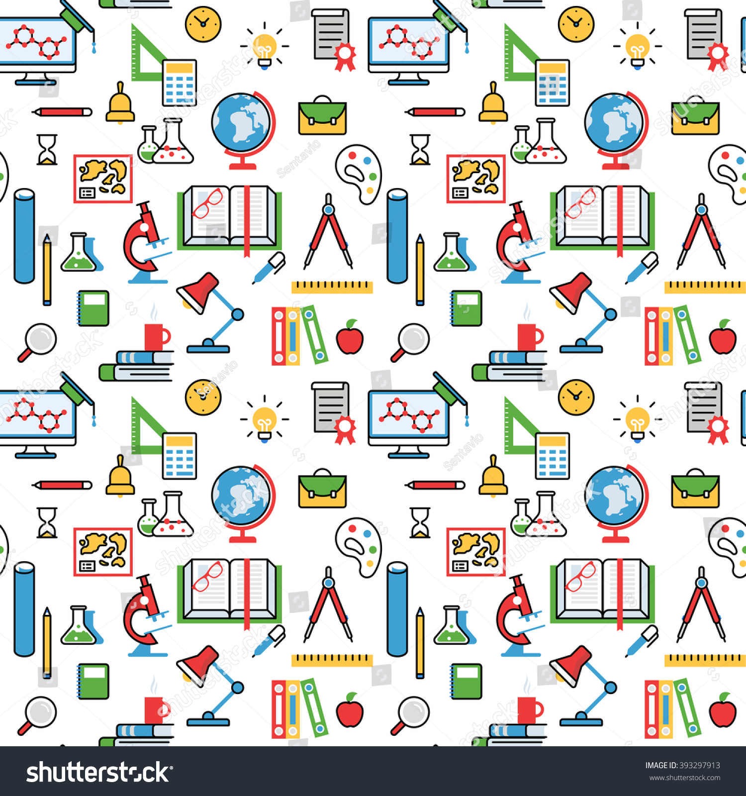 Education Objects Pattern Seamless Background Vector Stock