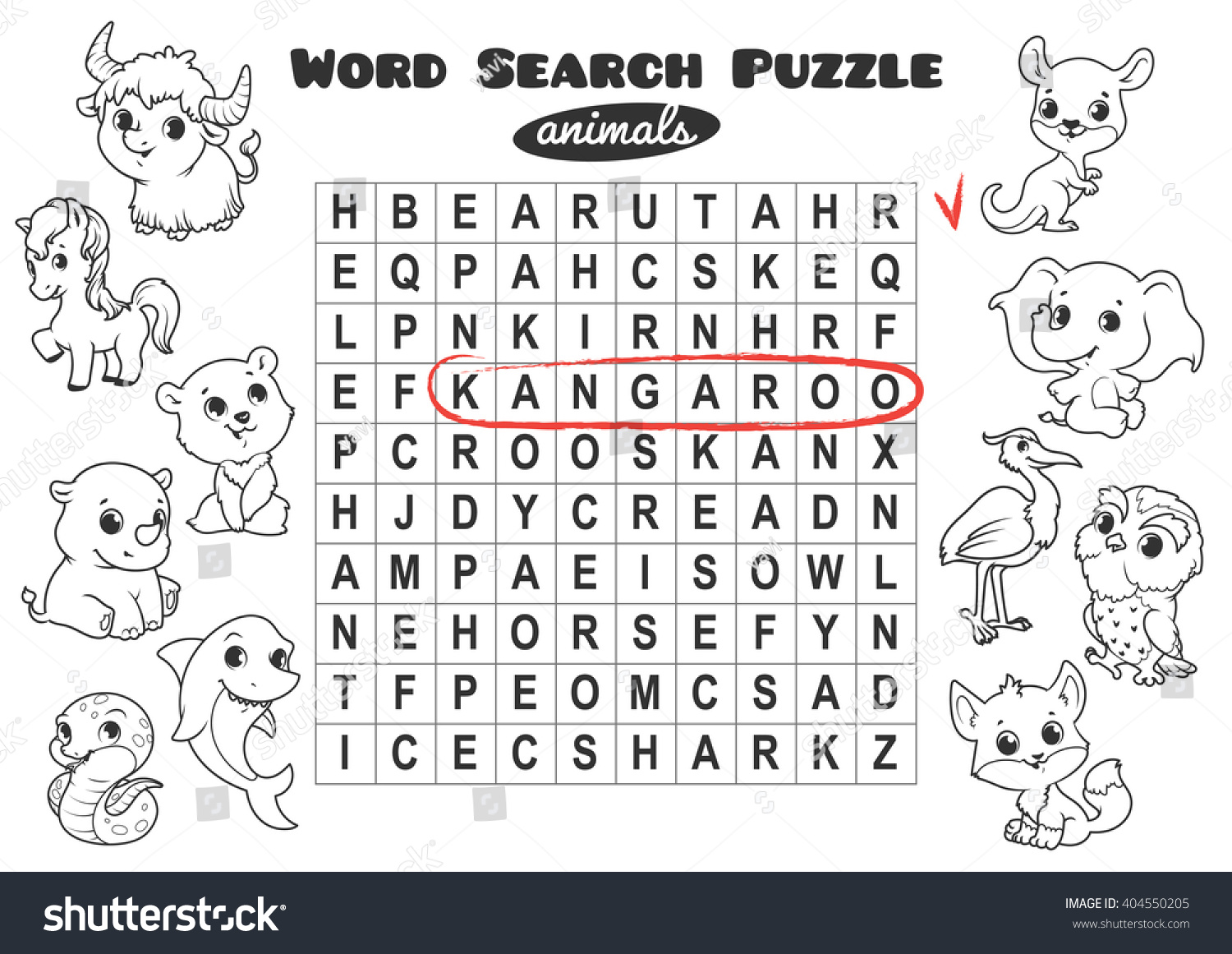 Educational Game Kids Word Search Word Stock Vector