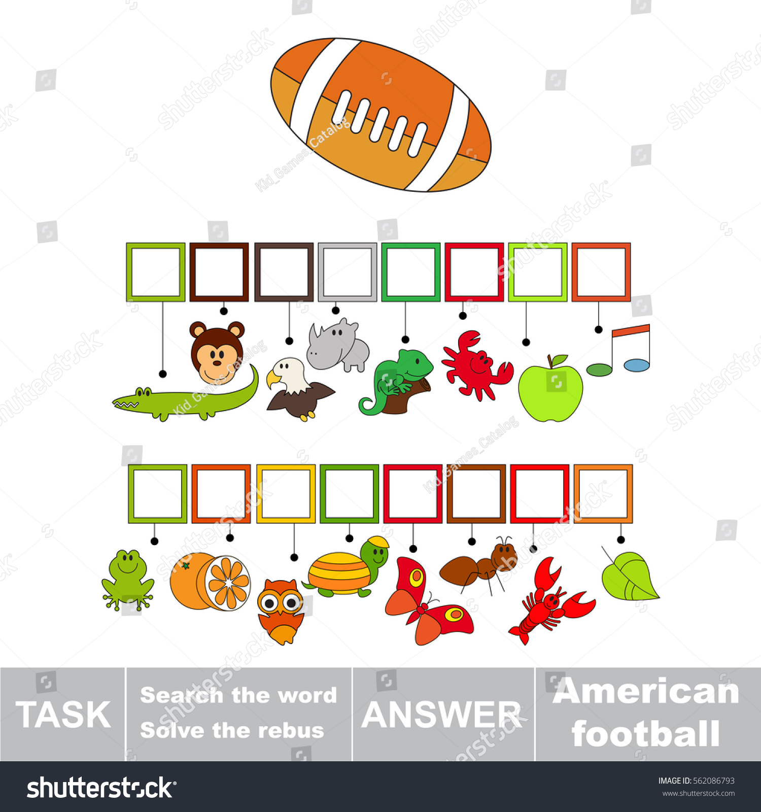 Educational Rebus Game Preschool Kids Easy Stock Vector