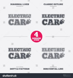 electric car sign icon electric vehicle transport symbol diagonal and horizontal lines classic  [ 1500 x 1600 Pixel ]
