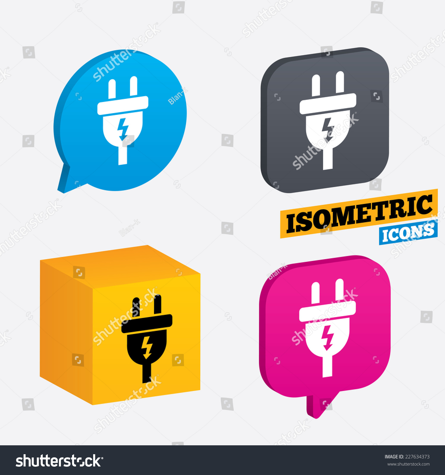 hight resolution of power energy symbol lightning sign isometric speech bubbles and