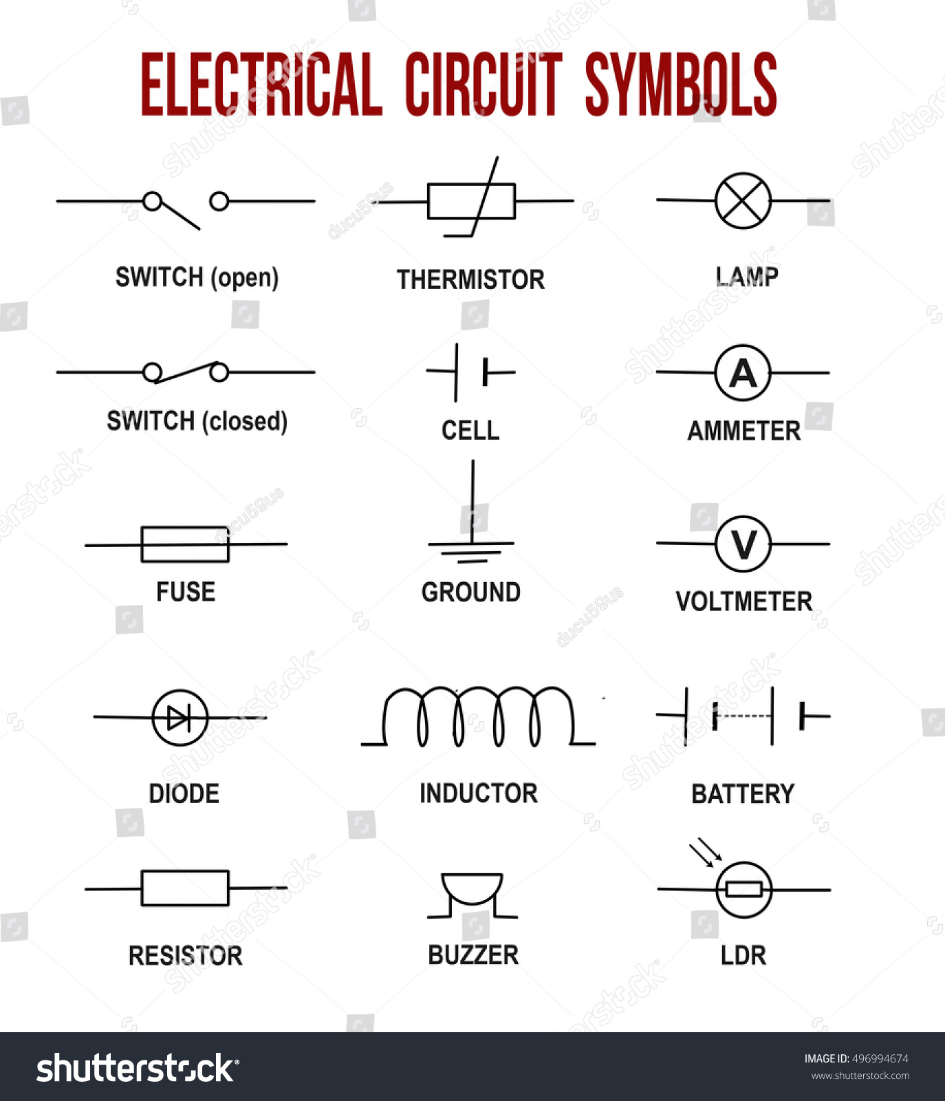 thermistor symbol electrical diagram lithium ion cell circuit symbols on white background stock