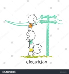 electrical repair electrical wiring in the street illustration [ 1500 x 1599 Pixel ]