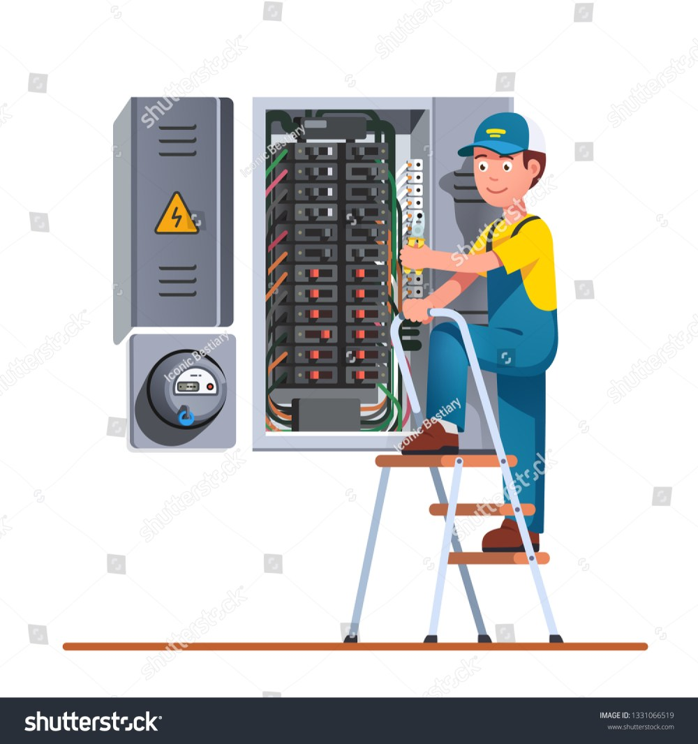 medium resolution of electrician engineer man working with breaker fuse box on ladder electrical service panel cabinet
