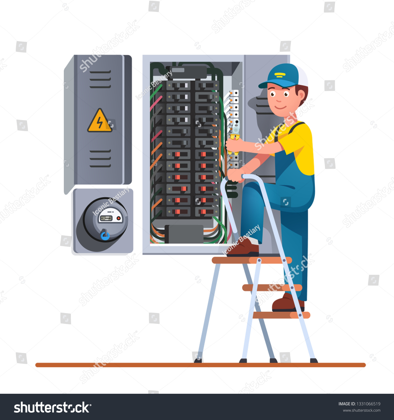 hight resolution of electrician engineer man working with breaker fuse box on ladder electrical service panel cabinet