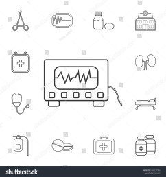electrocardiogram device and heart pulse on screen icon detailed set of medicine outline icons  [ 1500 x 1600 Pixel ]