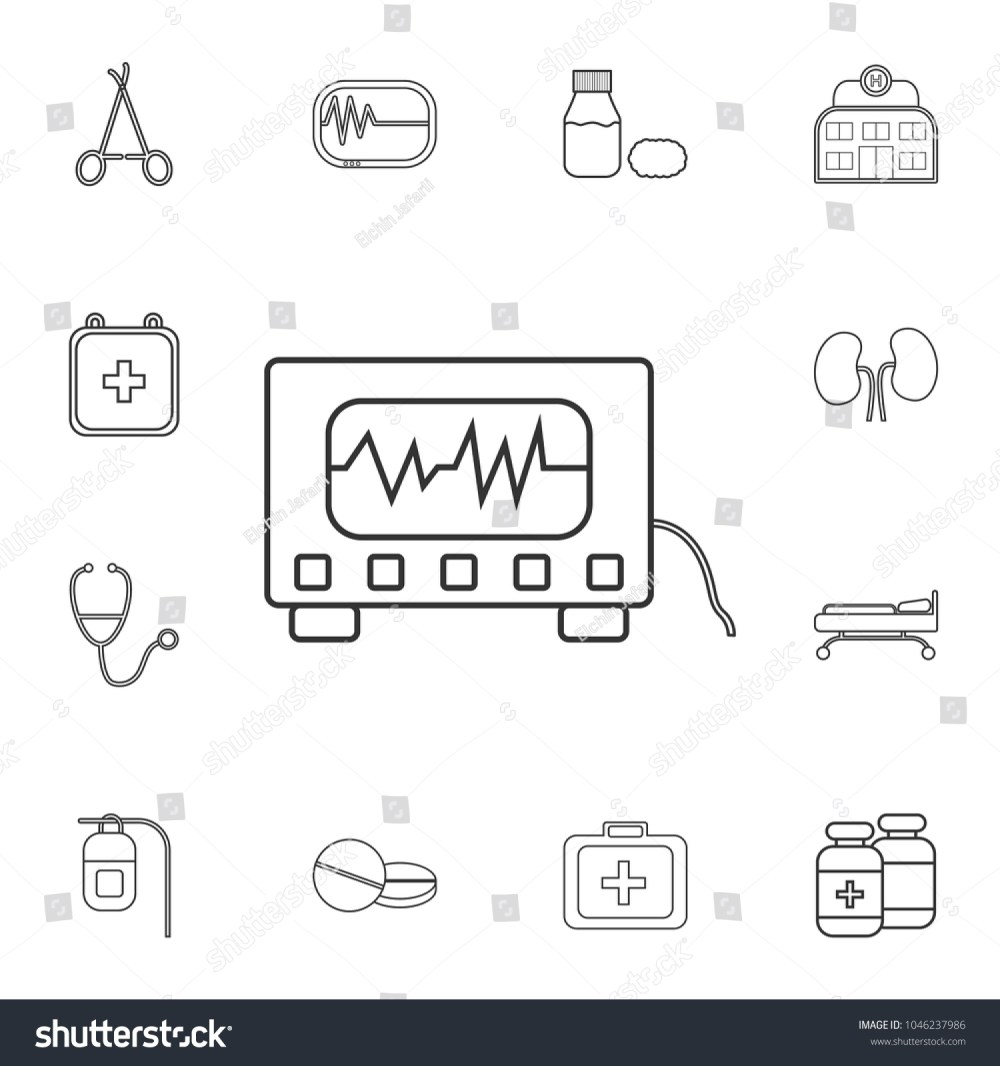 medium resolution of electrocardiogram device and heart pulse on screen icon detailed set of medicine outline icons