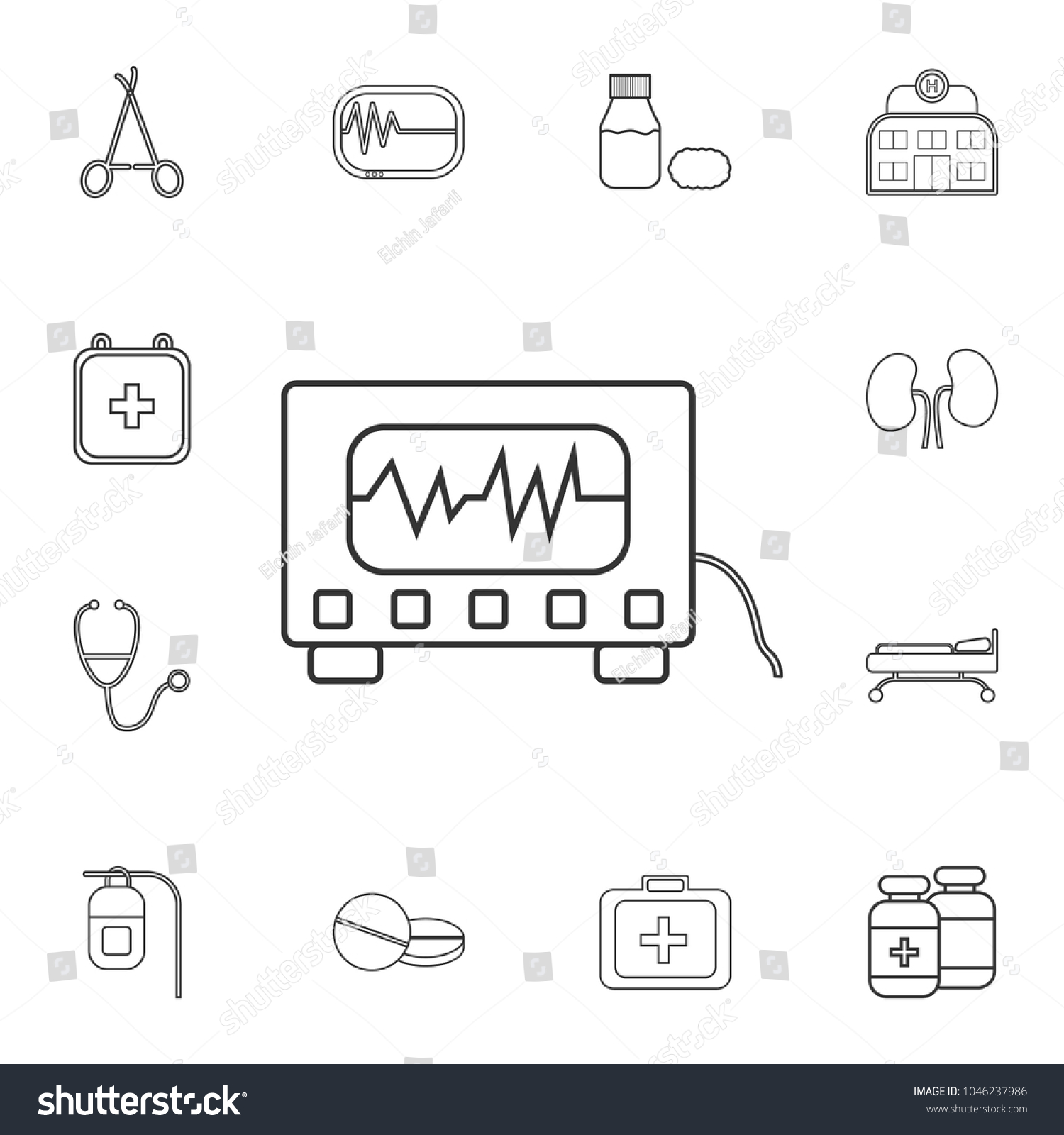 hight resolution of electrocardiogram device and heart pulse on screen icon detailed set of medicine outline icons
