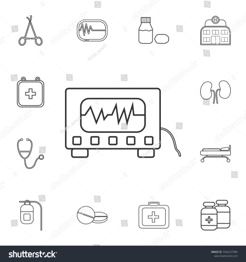 small resolution of electrocardiogram device and heart pulse on screen icon detailed set of medicine outline icons