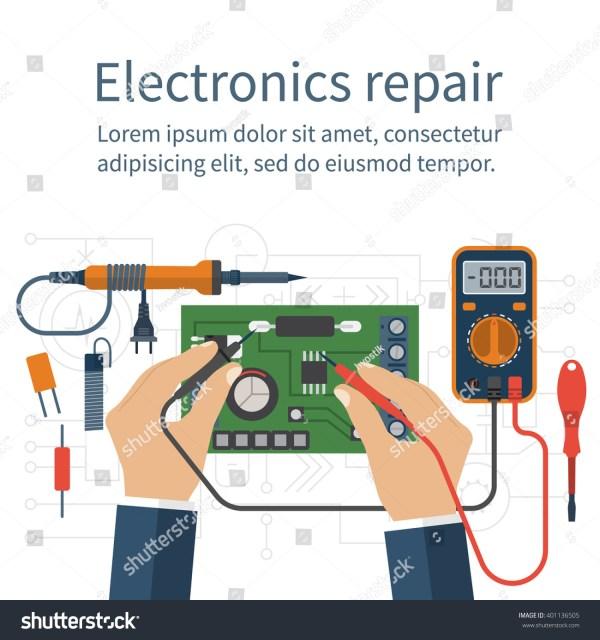 Electronics Repair Tester Checking Multimeter Hands Stock ...