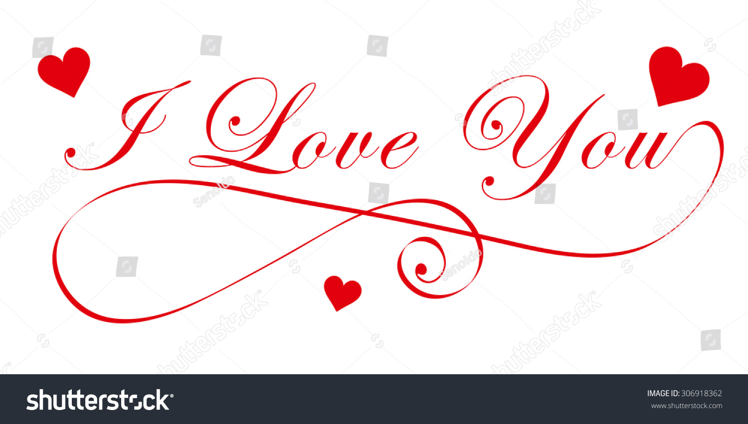 Elegant Love You Handwriting Font Red Stock Vector