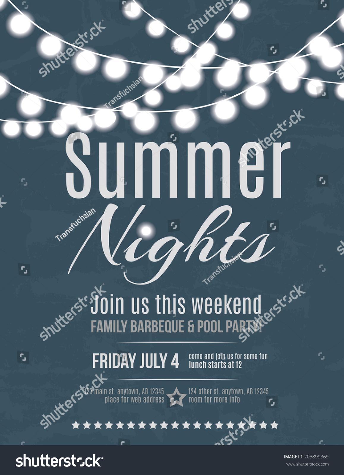 Elegant Summer Night Party Invitation Flyer Stock Vector 203899369 ...