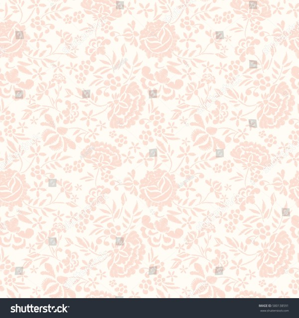 Embroidery Seamless Pattern Beautiful Flowers Vector Stock
