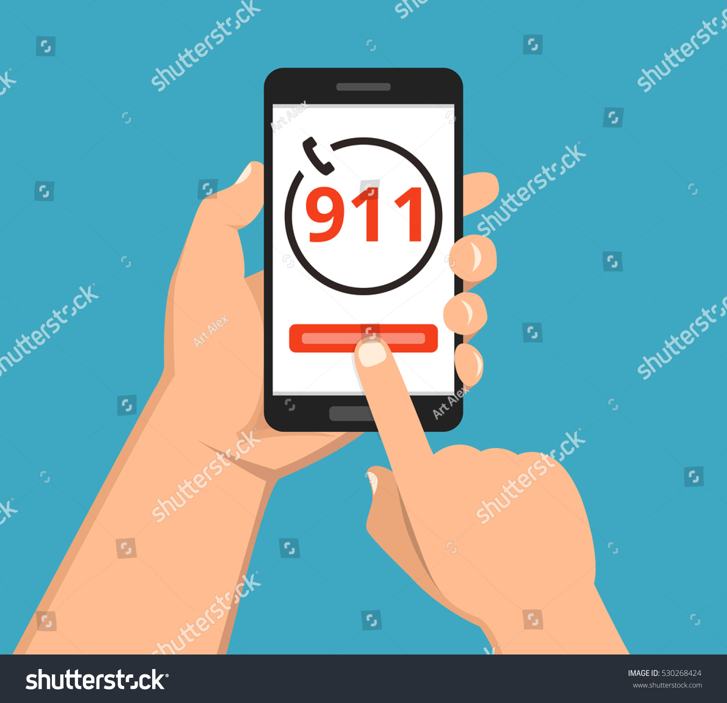 Emergency Call 911 Concept Hand Holding Stock Vector