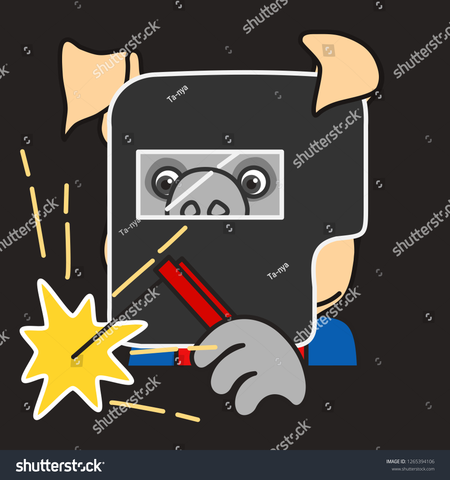 hight resolution of emoticon or emoji of welder fat pig man at work that is wearing a safety mask holding an electrode while welding some metal with electrical flash sparks