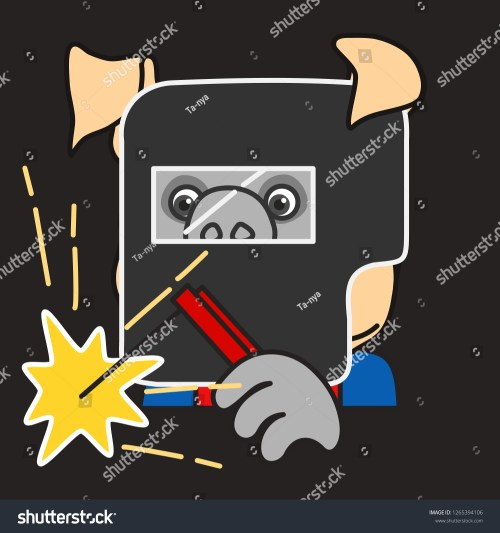small resolution of emoticon or emoji of welder fat pig man at work that is wearing a safety mask holding an electrode while welding some metal with electrical flash sparks
