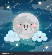 Emotional Weather Forecast Cute Moon Happy Stock Vector