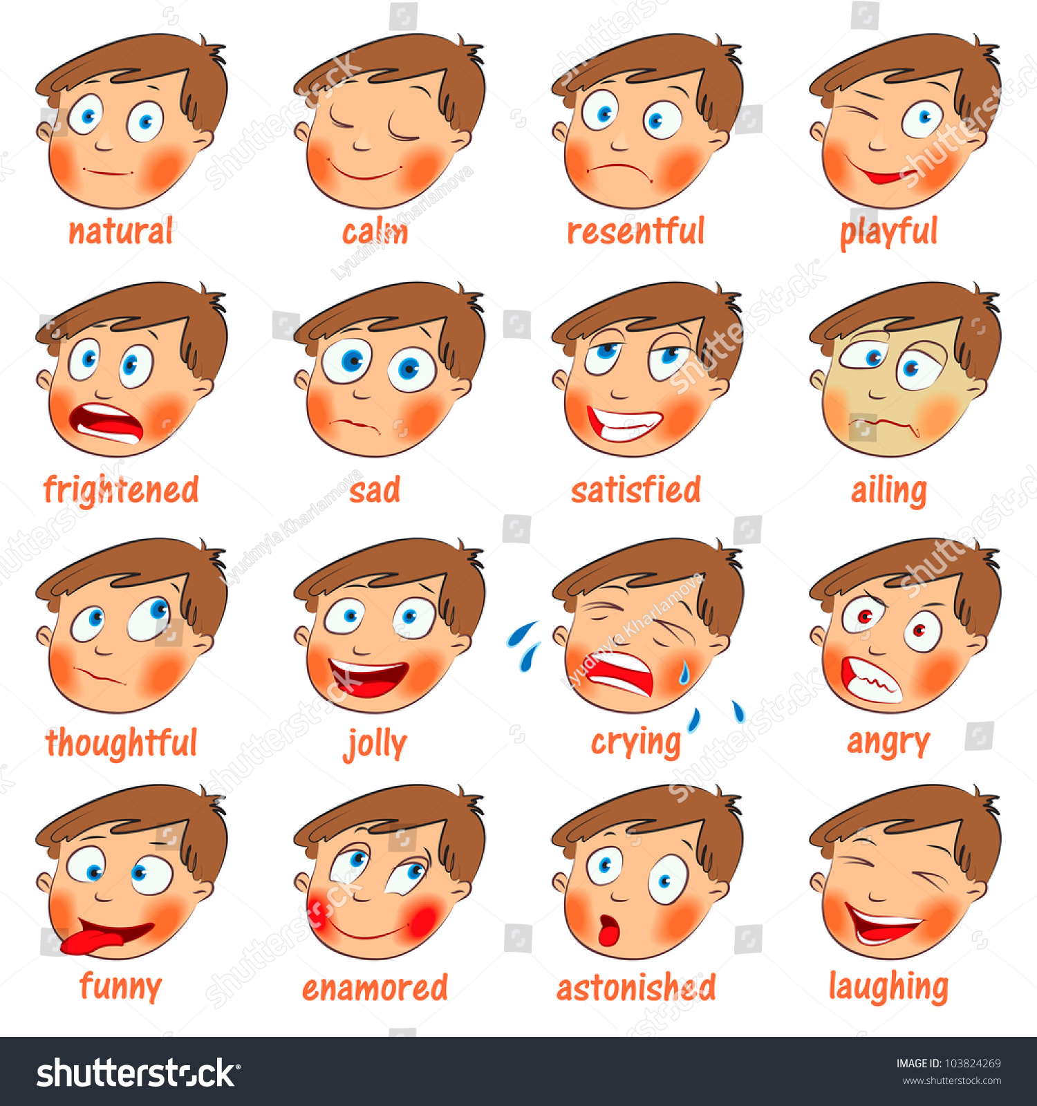 Emotions Cartoon Facial Expressions Set Natural Stock