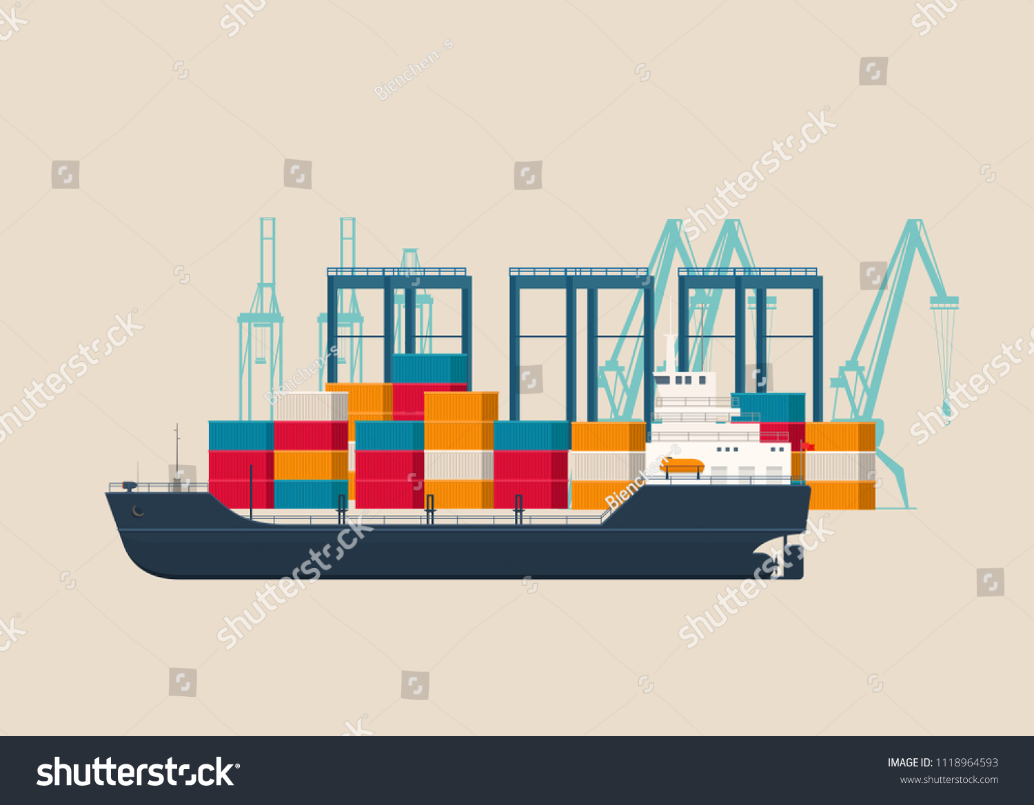 hight resolution of empty cargo ship under crane bridge in the container terminal logistics and transportation concept