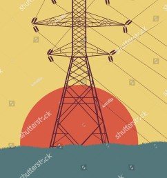 energy distribution high voltage power line tower with wires vector background [ 1164 x 1600 Pixel ]