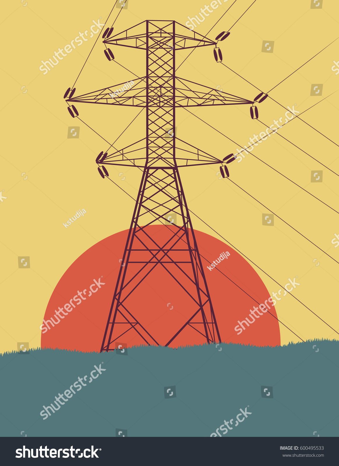 hight resolution of energy distribution high voltage power line tower with wires vector background