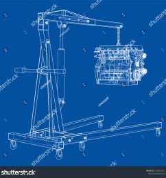 engine hoist with engine outline vector rendering of 3d wire frame style the layers of visible and invisible lines are separated [ 1500 x 1509 Pixel ]