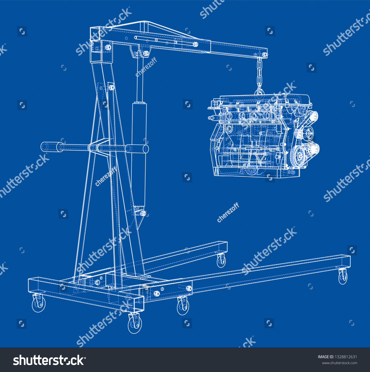 hight resolution of engine hoist with engine outline vector rendering of 3d wire frame style the layers of visible and invisible lines are separated